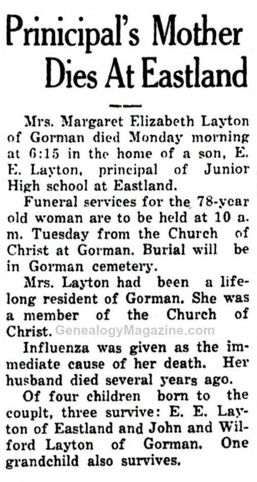LAYTON, Margaret Elizabeth obituary