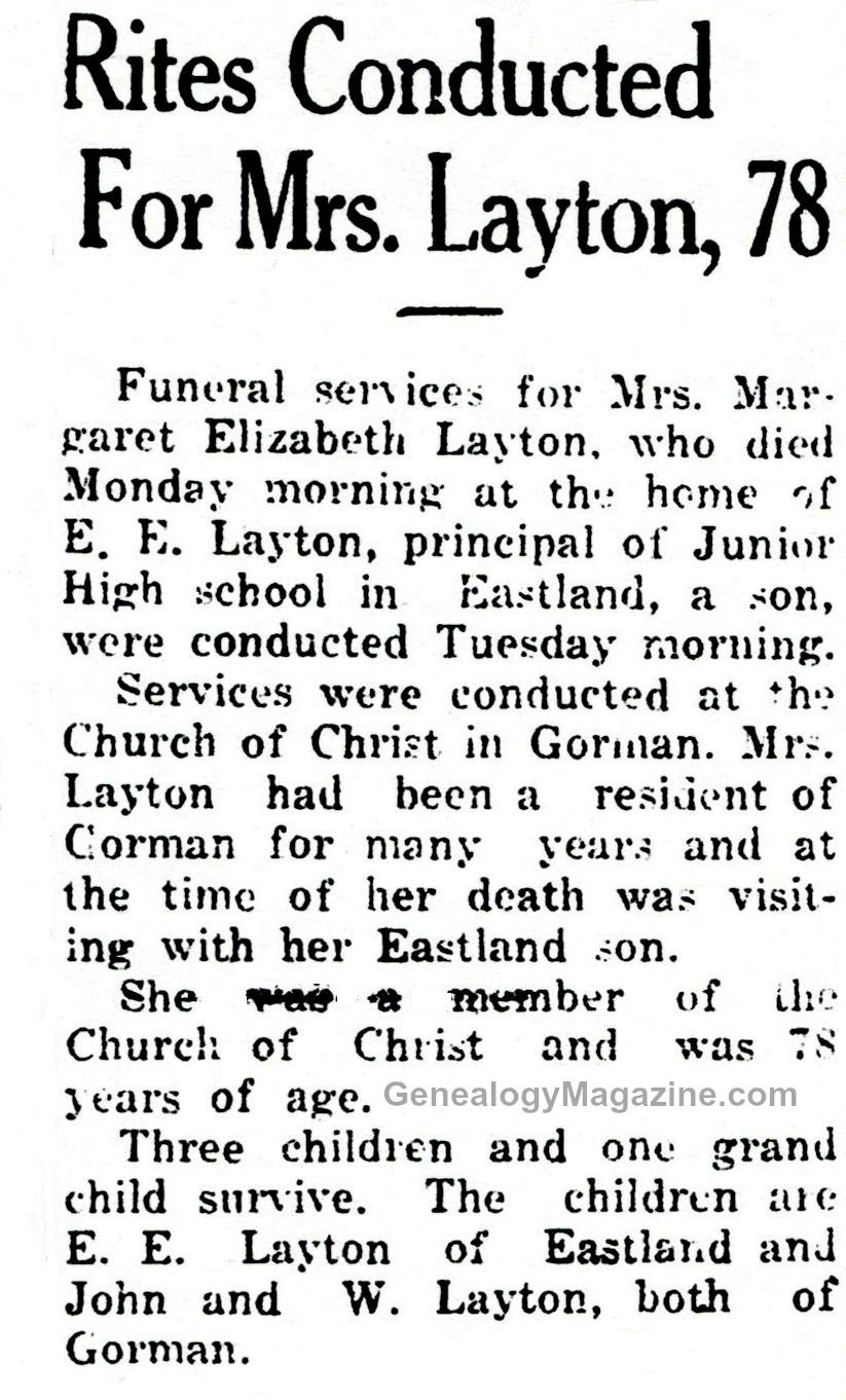 LAYTON, Mrs obituary