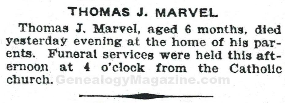 MARVEL, Thomas J obituary 2