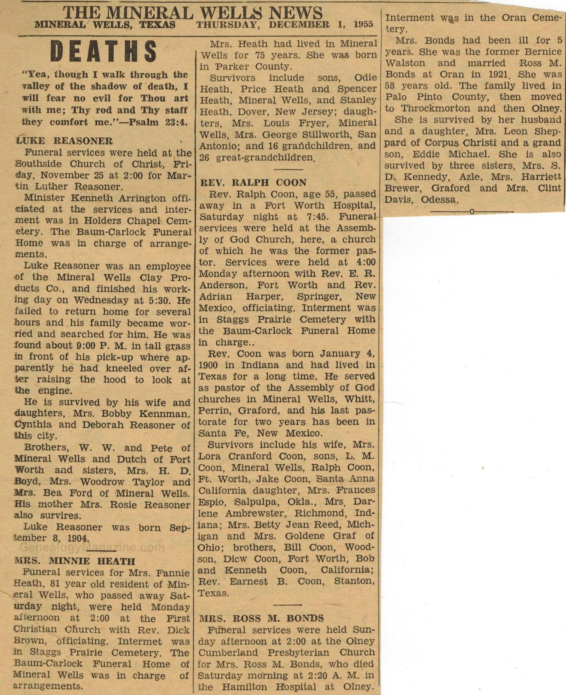 MINERAL WELLS NEWS obituaries 1 December 1955