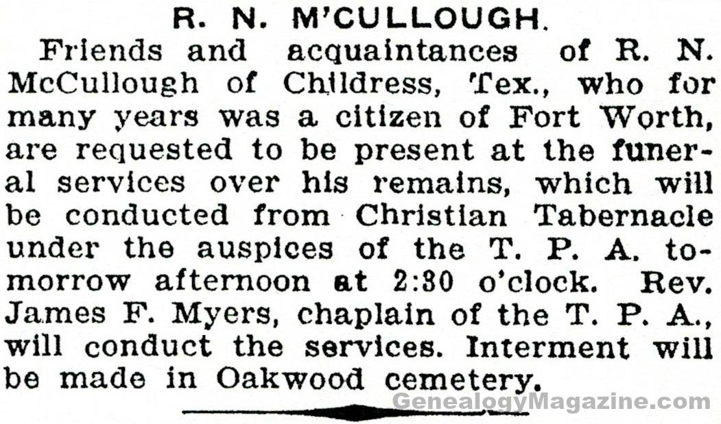 McCULLOUGH, R N obituary