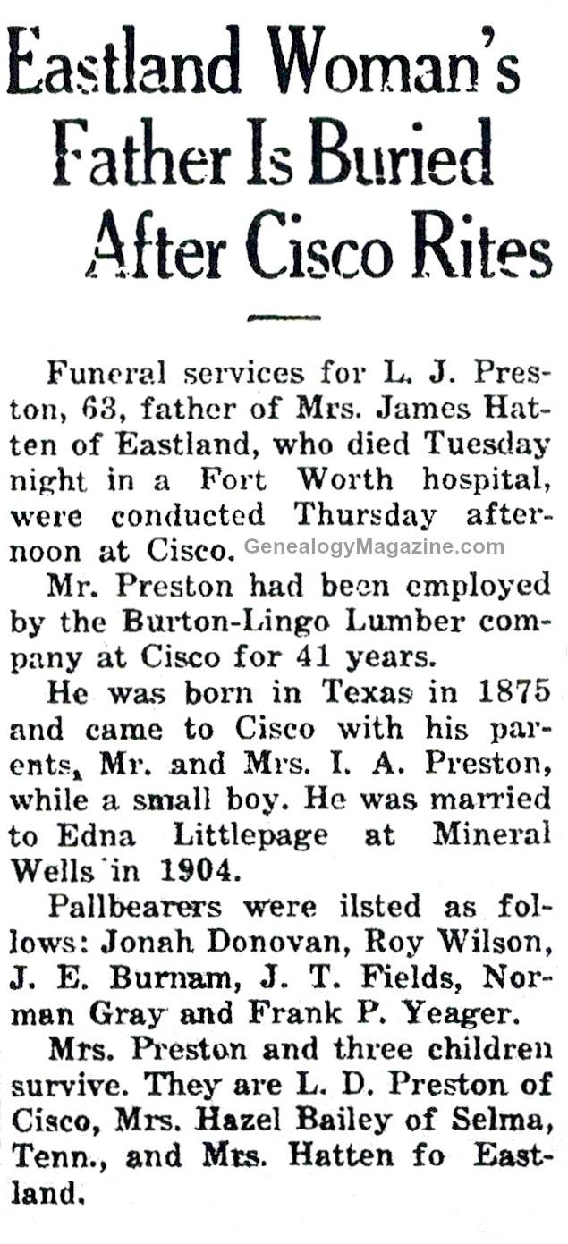 L J Preston obituary
