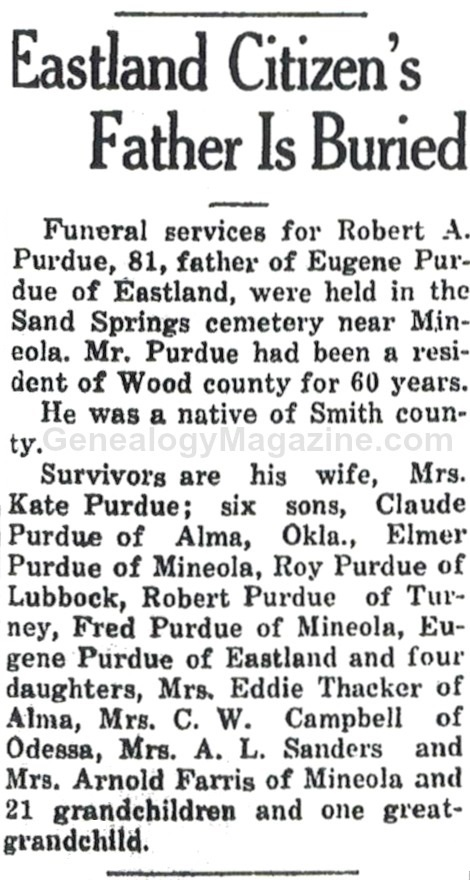 PURDUE, Robert A obituary