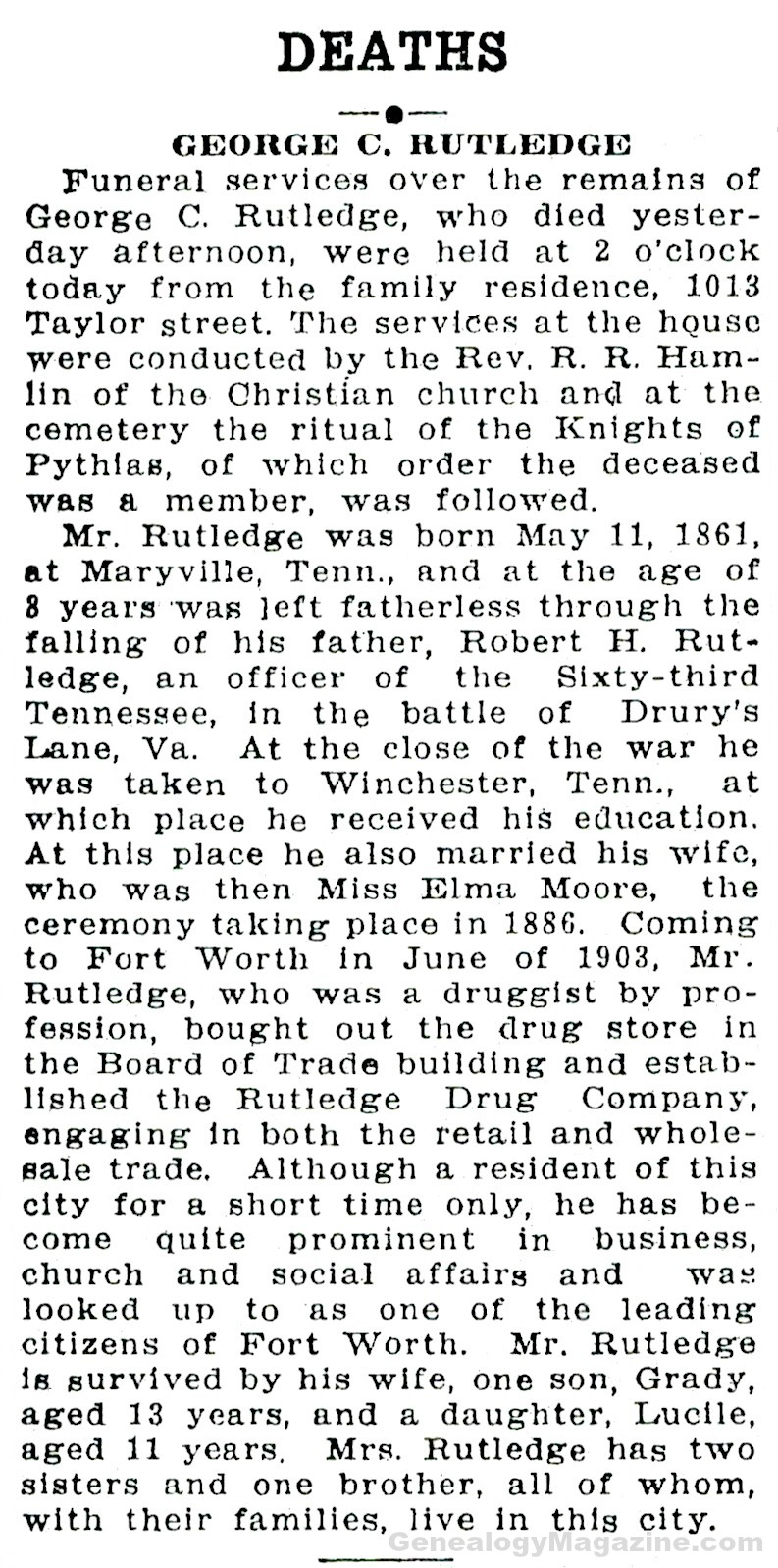 RUTLEDGE, George obituary