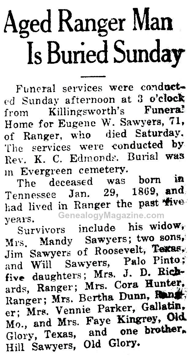 SAWYERS, Eugene W obituary