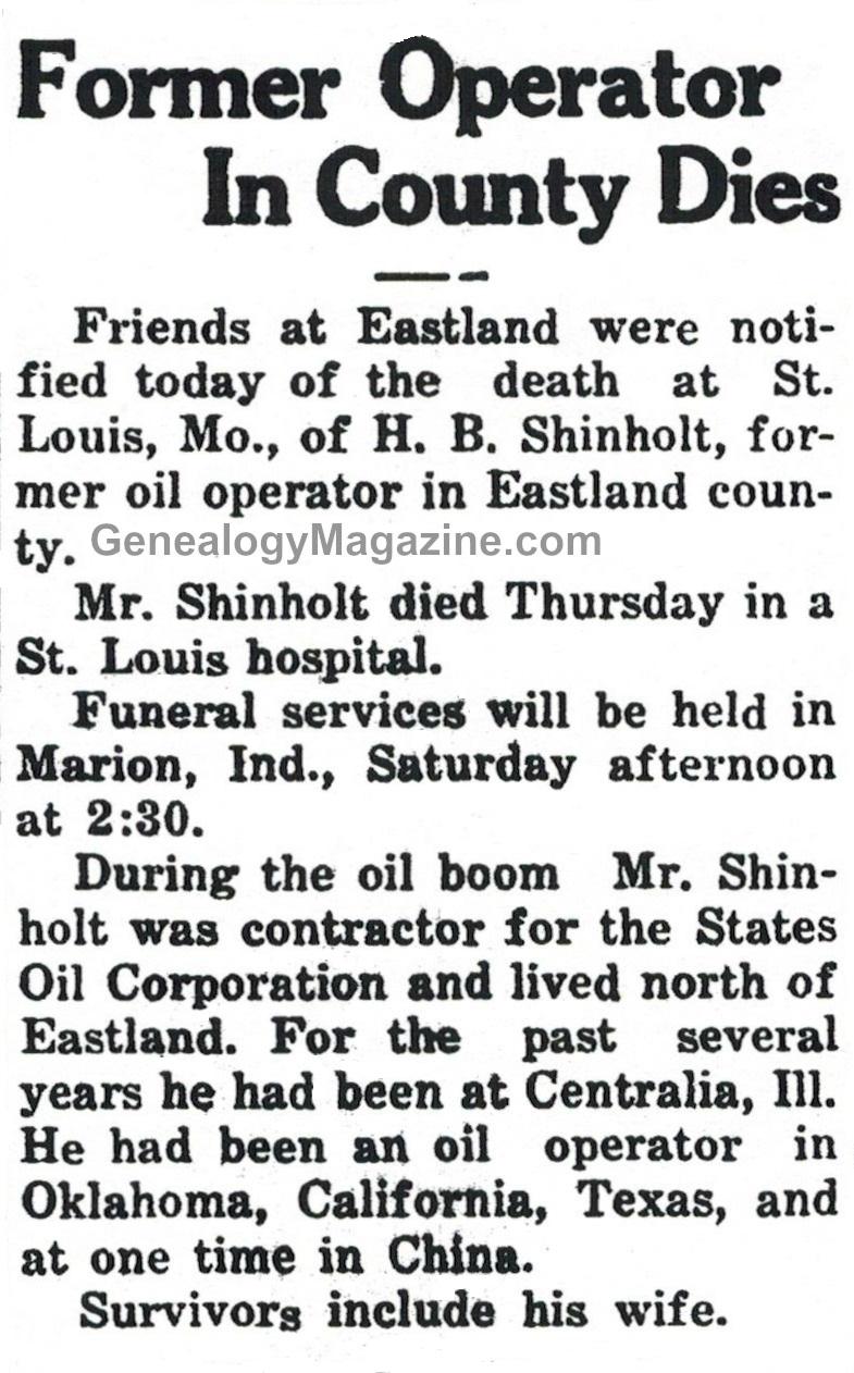 SHINHOLT, H B obituary