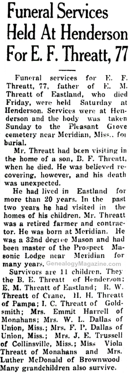 THREATT, E F obituary