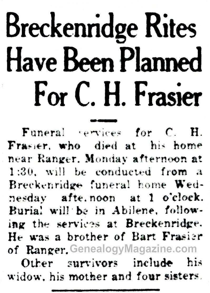 C H FRASIER obituary