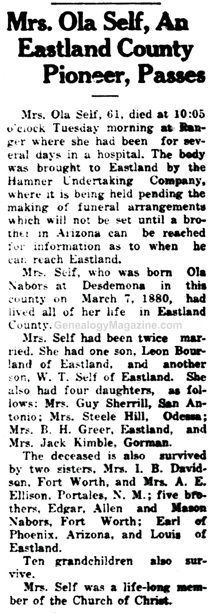 Ola Self obituary