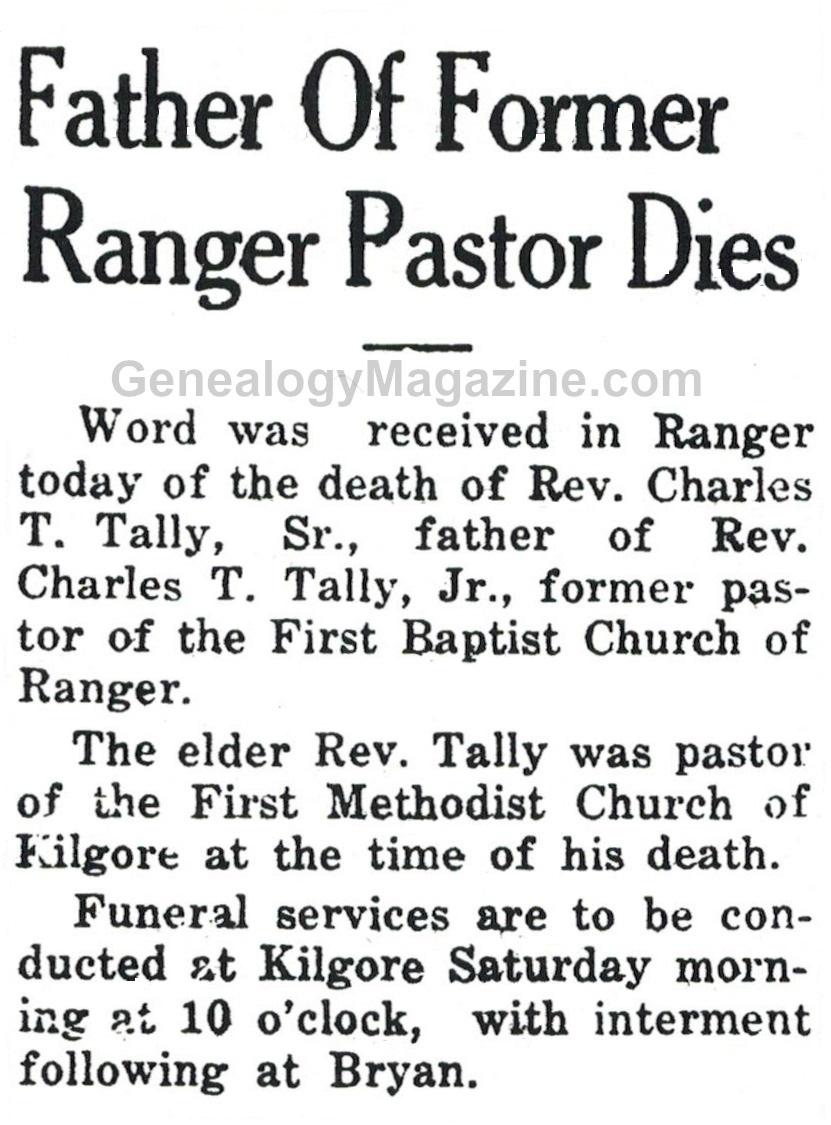 Charles T Tally Sr. obituary