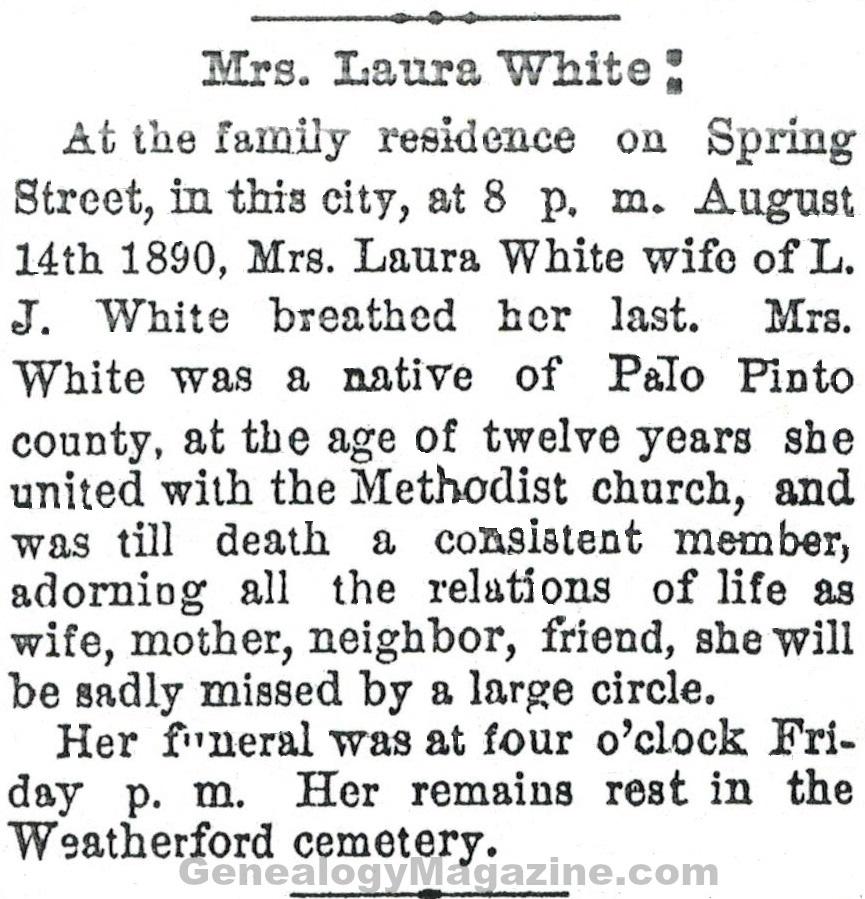 Laura White obituary